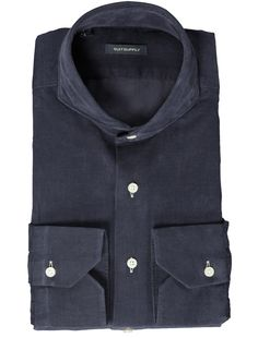 Navy Washed Shirt Single Cuff H4019 | Suitsupply Online Store