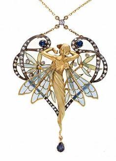 artMASRIERA Y CARRERAS pendant with plique-à-jour enamel, sapphires and diamonds. Signed. Art Nouveau.