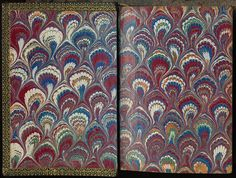 Marbled endpaper from an 1875 copy of <em>Die Nachfolge Christi</em> by Thomas von Kempis.
