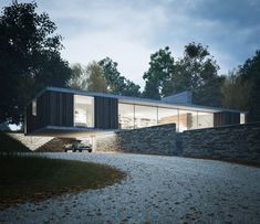 Strom Architects designs a countryside house protruding over a wall
