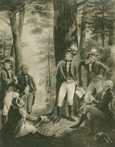 Schiller liest seinen Mitschülern im Bopserwald aus den Räubern vor. Aquarell von Karl Alexander von Heideloff
