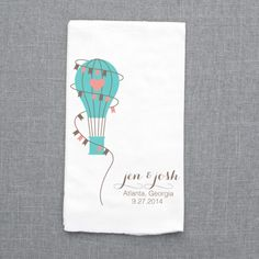 $10 hot air balloon save the date towel