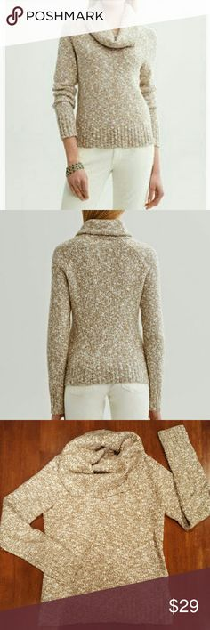 Marled cowl neck sweater Long sleeve, ribbed cuffs and hem. 44% cotton, 30% wool, 26% acrylic. Very soft, very warm, very cozy! Banana Republic Sweaters Cowl & Turtlenecks