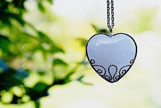 Veľká čipka / pendant rose quartz heart