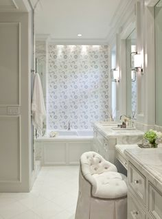 House of Turquoise: Barclay Butera Interiors (tufted vanity chair- Oliver) House Design, Traditional Bathroom, House, House Bathroom, Apartment Design, Dream Bathrooms, Luxury Interior Design, Bathroom Decor, Beautiful Bathrooms