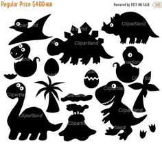 OP VERKOOP DIRECT downloaden. Dino silhouet illustraties.