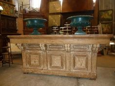 Interior design | decoration | home decor | furniture | Pretty counter with old timeworn paints, c.1850