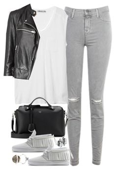 """""""Untitled #3337"""" by plainly-marie ❤ liked on Polyvore featuring J Brand, T By Alexander Wang, Fendi, AllSaints and Alexander McQueen"""