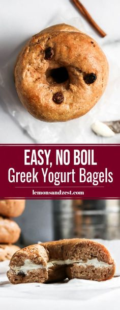 Want homemade bagels that are so simple? This easy bagel recipe requires no boiling and no yeast--ready in less than an hour and so soft and chewy. Cinnamon Raisin is a classic flavor everyone loves! Cinnamon Bagels, Cinnamon Raisin Bagel, Craving Bread, Homemade Bagels, Baked Donuts, Cooking Recipes, Bread Recipes, Snack Recipes, Vegan Recipes