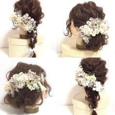 【antique white】アンティークホワイト×グレーのヘッドドレスパーツ Wedding Dresses With Flowers, Flowers In Hair, Dress Hairstyles, Bride Hairstyles, Japan Hairstyle, Bridal Hair Up, Bridal Hair Inspiration, Hair Up Styles, Hair Arrange
