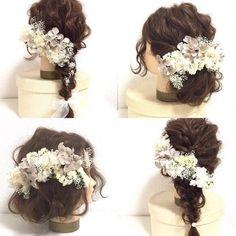 【antique white】アンティークホワイト×グレーのヘッドドレスパーツ