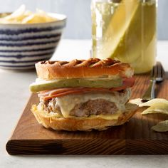 My mom would make this Cuban burger recipe when we used to visit her in Florida. They are a take on the real Cuban sandwich. My kids loved them—my boys could eat two of these monsters in one sitting. Kubanisches Sandwich, Grilled Sandwich, Sandwich Recipes, Cuban Recipes, Pork Recipes, Cooking Recipes, Hamburger Recipes, Burger Dogs, Burgers