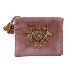 Embroidery Purse, Embroidery Hearts, Beaded Embroidery, Embroidery Designs, Diy Embroidered Purse, Beaded Clutch, Beaded Bags, Stocking Fillers For Her, Diy Coin Purse