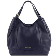 Cinzia - Shoppingbag i mykt skinn - Mørkeblå