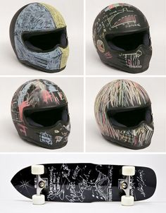 Chalkboard paint on a helmet.  Unique idea.