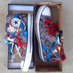 Superman Limited Edition Converse sz 11 Superman Limited Edition Converse sz 11 comes with 3 different laces: red, blue with yellow polka dots and white BNIB  *Mens size 9 Women's size 11 Converse Shoes Athletic Shoes