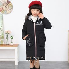 (37.13$)  Know more - http://aiesc.worlditems.win/all/product.php?id=32753641993 - Fashion Girl Winter Parkas Coat Down Children Clothing Baby Outerwear Hood Thick Winter Jackets for Girls Long Section Kids