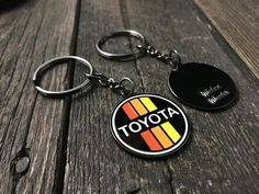 Show off your Toyota pride with this handsome crafted metallic and enamel keychain, styled in theretro Toyota racing colors we here at Wicked Wheeler have been