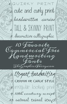 10 Commercial Free Handwriting Fonts! - The Graphics Fairy  ~~ {10 free fonts w/ easy download links}