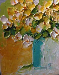 Original Art Oil Painting Abstract White Floral Wall Decor. $ 60.00.
