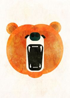 Angry Bear by Alvaro Tapia Hidalgo | Orange hues