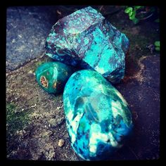 Chrysocolla (tumbled & raw): this Goddess Stone empowers and balances feminine energies in either men or women; accessing great pools of deep inner wisdom, this stone facilitates clear and rich communication, while also imparting moments where it's wiser just to listen; promoting confidence and creativity, this stone aligns the divine self with the angelic realm. #perspicacityparty #magicgeodes #magicstones #stones #crystals #gems #metaphysics #chrysocolla