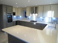 In a new extension in Stanbridge, Bedfordshire, this unit included maximum storage space to b Farmhouse Style Kitchen, Modern Farmhouse Kitchens, Home Decor Kitchen, New Kitchen, Home Kitchens, Kitchen Ideas, Awesome Kitchen, Luxury Kitchens, Open Plan Kitchen Living Room