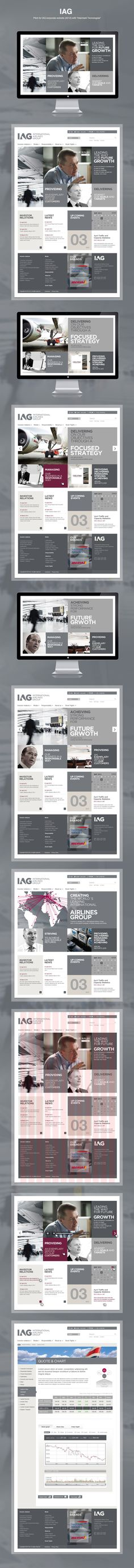 "IAG by Yan Duffield, via Behance *** ""Pitch for IAG corporate website with ""Intermark Tecnologias"""" - Love a good success story? Learn how I went from zero to 1 million in sales in 5 months with an e-commerce store. Page Design, Ui Design, Layout Design, Flat Design, Gui Interface, Interface Design, Website Design Inspiration, Intranet Portal, Intranet Design"