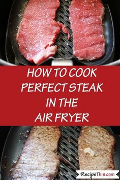 How To Cook Steak In The inc full recipe and different cooking times. Delicious tender rump steak cooked in the air fryer. Quick and simple to prepare and perfect for a quick steak fix. Air Fryer Recipes Steak, Air Fryer Recipes Potatoes, Air Fryer Steak, Air Fryer Recipes Breakfast, Air Fryer Dinner Recipes, Air Fryer Recipes Easy, Airfryer Breakfast Recipes, Steak Recipes, Recipes Dinner