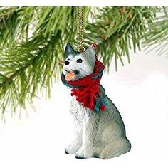 siberian husky christmas ornament gray white brown eyes delightful