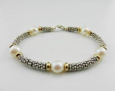 Pearl and Silver Bracelet ~ Gold Filled Beads ~ Silver Heishi : June Birthstone