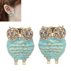 [$3.29] Owl Shape Fashion Alloy Rhinestone Earrings(Baby Blue)
