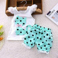 c893a5ecf2cd Sport Center  Discount This Month BibiCola Baby Summer Casual Clothes Set  Children Short Sleeve Cartoon cat dot T-shirt + Shorts Sport Suit Clothing  Sets ...