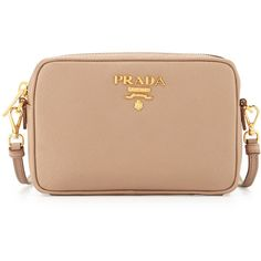 Prada Small Saffiano Camera Crossbody Bag (€805) ❤ liked on Polyvore featuring bags, handbags, shoulder bags, cammeo beige, prada crossbody, beige purse, cross body, beige handbags and cross-body handbag