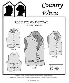 CWSSM05 - 1811- 1820s Men's Regency Era Waistcoat with 3 Collar Variations Sewing Pattern by Country Wives