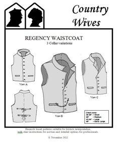 CWSSM05  1811 1820s Men's Regency Era Waistcoat by patternsoftime, $19.95
