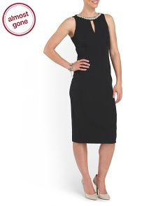 Sheath Dress With Neck Trim