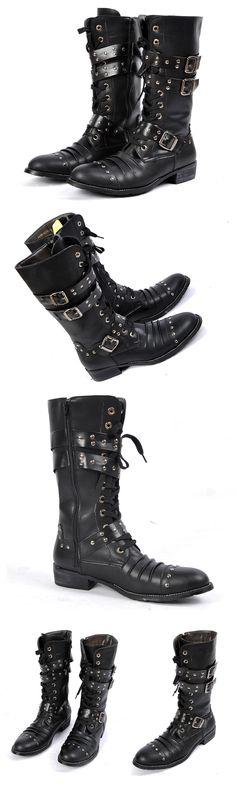 Men's Black Buckle Boots