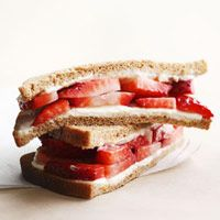 128 calories. Strawberry and cream cheese sandwich, great breakfast idea. On low carb pita or wrap