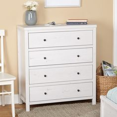 Drawer Chest Storage Transitional White Finish Versatile Solid Bedroom Furniture #SimpleLiving #ShabbyChicTransitional #Drawer #Chest #Storage #Furniture