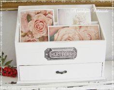 Kisten & Boxen - Briefbox / Utensilo im Shabby-Stil - ein Designerstück von Nostalgie-Schmiede bei DaWanda