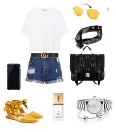 """Untitled #2"" by iulia-alexandra-1 on Polyvore featuring Vince, Gucci, Sam Edelman, Ray-Ban, Pandora, Belkin and Yves Saint Laurent"