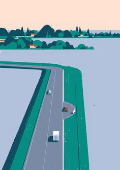Matteo Berton from Italy, Beautiful landscape artwork with reduced colors. Comics Illustration, Flat Illustration, Graphic Design Illustration, Digital Illustration, Graphic Art, Travel Illustration, Timberland, Gig Poster, Drawn Art