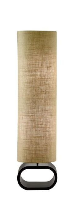 "Adesso 1520 Harmony 2 Light 47"" Tall Column Floor Lamp with Burlap Shade Walnut Lamps Floor Lamps"