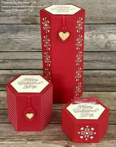 Double height and custom height boxes using the Stampin Up! Pretty Packaging, Box Packaging, Hexagon Box, Deco Table Noel, Envelope Punch Board, Up Book, Craft Box, 3d Craft, Homemade Cards