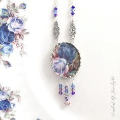 Broken China Jewelry Broken China Necklace, Blue Roses! by CrackedUpJewelry