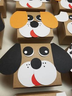 Send your party guests home with adorable puppy themed favor boxes. Sold in sets of 6. Each 4x3x2 kraft box is turned into a puppy using, cardstock paper, paint, and glue. These do not come filled. The boxes ship flat and require minimal assembly upon arrival. Shipped with a Mix of