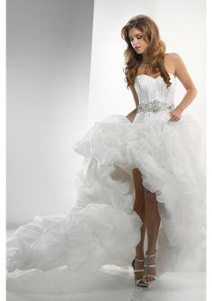 2014 Ball Gown Sweetheart Organza High Low Short Wedding Dress - by OKDress UK