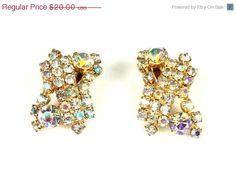 On Sale Vintage Huge Chunky Aurora Borealis Rhinestone Clip Back Earrings