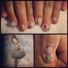 inspired by the art of nicoletta ceccoli. mani by mei kawajiri. nail art on DIVAlicious Blog.